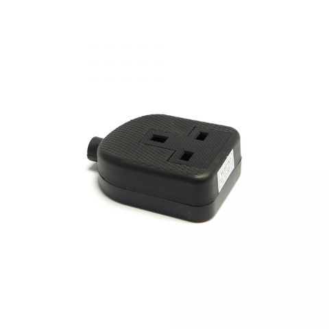 Elite 240 Volt One Gang 13 Amp Black Rubber Adaptor 1GADP