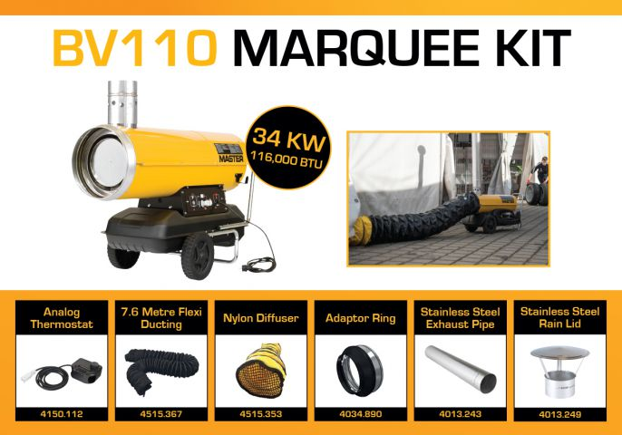 Master BV110 240 Volt Marquee Kit With 7.6 Metre Ducting & Accessories BV110MKP12