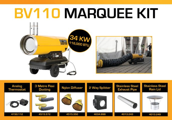 Master BV110 240 Volt Marquee Kit With 2 x 3 Metre Ducting & Accessories BV110MKP13