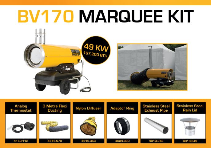 Master BV170DV Marquee Kit With 3 Metre Ducting & Accessories BV170MKP3