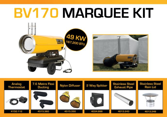 Master BV170DV Marquee Kit With 2 x 7.6 Metre Ducting & Accessories BV170MKP6