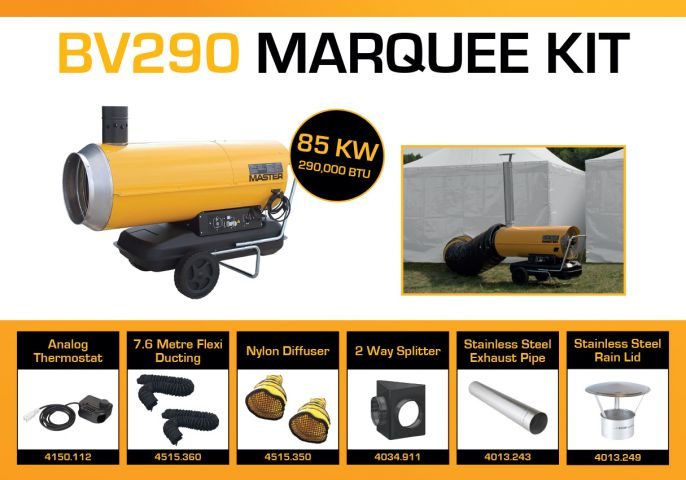 Master BV290DV Marquee Kit With 2 x 7.6 Metre Ducting & Accessories BV290MKP10