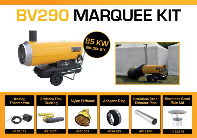 Master BV290DV Marquee Kit With 3 Metre Ducting & Accessories BV290MKP7