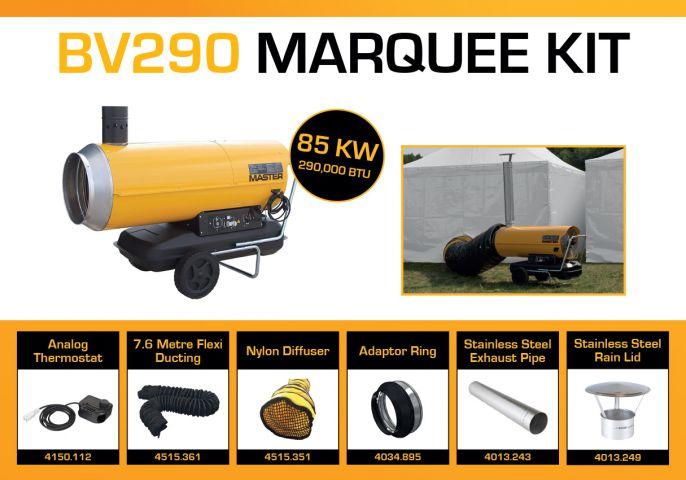 Master BV290DV Marquee Kit With 7.6 Metre Ducting & Accessories BV290MKP8