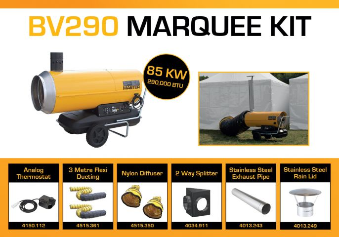 Master BV290DV Marquee Kit With 2 x 3 Metre Ducting & Accessories BV290MKP9