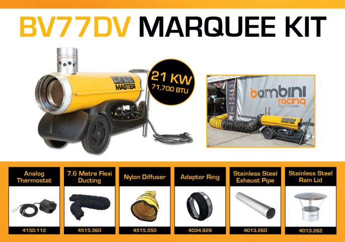 Master BV77DV Marquee Kit With 7.6 Metre Ducting & Accessories BV77MKP2