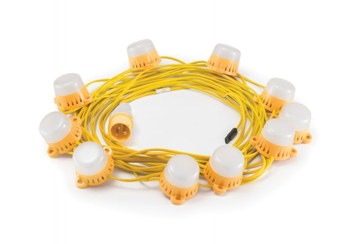 Elite 110 Volt LED 22 Metre Fully Enclosed Festoon Site Lighting Kit LEDKITENC22