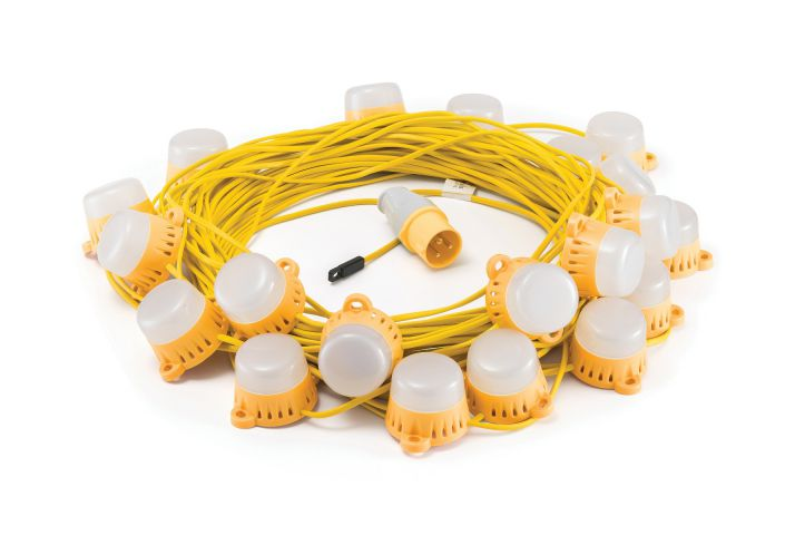 Elite 110 Volt LED 50 Metre Fully Enclosed Festoon Site Lighting Kit LEDKITENC50